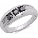 KLENOTA Pánský stříbrný snubní prsten s černými diamanty