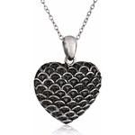 KLENOTA Diamantový přívěsek ze stříbra ve tvaru srdce