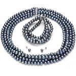KLENOTA Perlová souprava z šedých sladkovodních perel