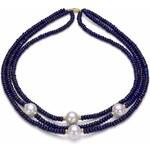 KLENOTA Lapisový náhrdelník s perlami, zlato