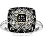 KLENOTA Stříbrný prsten s černými diamanty