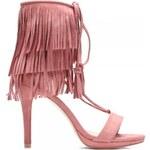 VICES Růžové zavazovací sandály s třásněmi