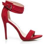 SEASTAR Stylové červené sandály na jehlovém podpatku