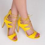 SERGIO TODZI Žluté hadí sandále se šněrováním
