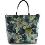 ItalY Tyrkysová květovaná luxusní velká kabelka Elza tyrkysová
