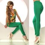 Trendy zelené stretchové kalhoty