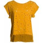Glamorous by Glam Dámské děrované tričko - žlutá
