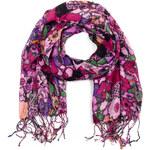 Art of Polo Růžový letní šál/šátek Kytičky