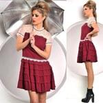 Dívčí bordó šaty s krajkou