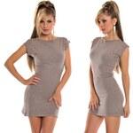 Moderní světle hnědé kašmírové šaty