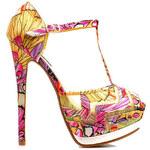 SERGIO TODZI Bombastické žluté sandálky s pestrým vzorem