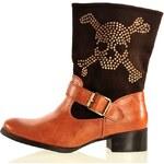 Módní hnědé boty s kamínky