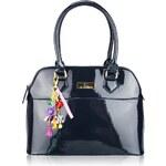 LS fashion Luxusní tmavě modrá lesklá kabelka
