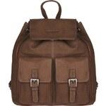 ESTELLE Kožený batoh s kapsami 0352-02 hnědý