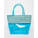 HUSH HUSH Tyrkysová plážová taška se slámovým pruhovaným panelem