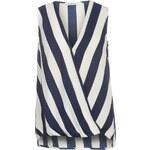 Triko Glamorous Sleeveless Wrap Shirt White/Navy 8 (XS)