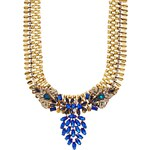 Liquorish Blue Flower Statement Necklace