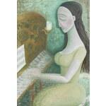 Umělecký obchod Klavíristka - 90x80 cm obrazy na plátně