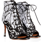 Givenchy Leather/Lace Open Toe Booties in Black/White