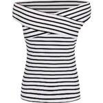 Černo-bílé pruhované tričko s lodičkovým výstřihem Dorothy Perkins