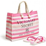 Victoria's Secret Striped Tote and Flip-Flops S