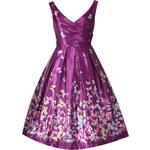 LINDY BOP Dámské retro šaty Aurora Purple s motýlky Velikost: 36