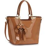 LS fashion Ls dámská lakovaná kabelka s mašlí LS00348 nude
