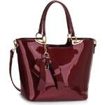 LS fashion Ls dámská lakovaná kabelka s mašlí LS00348 bordó