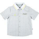 MMDadak Chlapecká pruhovaná košile s nášivkou medvídka - šedá