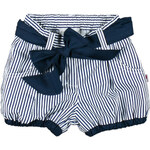MMDadak Dívčí pruhované šortky s mašlí Rowerek - modro-bílé