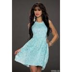 Dámské krajkové mini šaty CC Fashion - světle modré