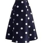 CHICWISH Dámská sukně Midi Modrá s puntíky Velikost: S