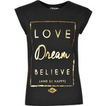Tričko Lee Cooper Cooper Love Dream Believe Graphic dám. černá XL