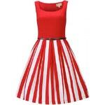 Retro šaty Lindy Bop Bette Red Stripe velikosti: 42