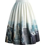 CHICWISH Dámská sukně Midi New York Skyline Velikost: XL