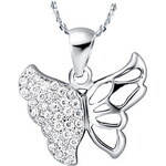 LightInTheBox Graceful Butterfly Shape Silvery Alloy Women's Necklace(1 Pc)(Purple,White)