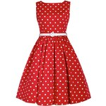 Retro šaty Lindy Bop Audrey Red New Polka