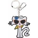 Černo-bílý přívěsek ve tvaru kočky KARL LAGERFELD