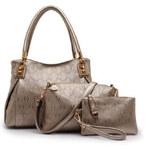 Lesara 3-teiliges Handtaschen-Set mit Anhängern - Gold