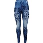 Lesara Leggings in Jeans-Optik mit floralen Ornamenten - Blau - S-L