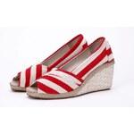 Evercreatures plátěné dámské espadrilky boty na klínku červené Velikost: EUR 36