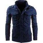 Coolbuddy Pánská modrá bunda s ozdobnými nárameníky Robin 7944 Velikost: XXL