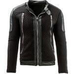 Coolbuddy Černá pánská bunda s doplňky z eko-kůže Zoro 8026 Velikost: S