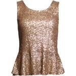 Glamorous by Glam Peplum party top zlatý z kovových flitrů