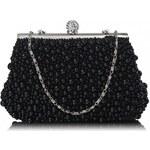 F.O. England Dámské luxusní psaníčko Vintage Beads Pearls Crystals černé, color Černá