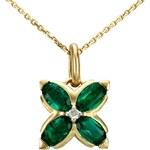 Fabiani Zirkonia Edelstein Fabiani Diamant-Anhänger mit Kette Gold 333 Synthetik-Smaragd