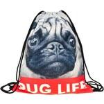 Timy Plátěný vak s 3D potiskem Pug life