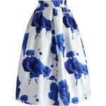 CHICWISH Dámská sukně Midi Modré růže
