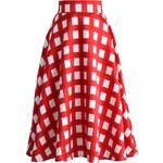 CHICWISH Dámská sukně Midi Sassy červená kostka