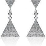 Meucci Stříbrné visací náušnice s trojúhelníkem a zirkony